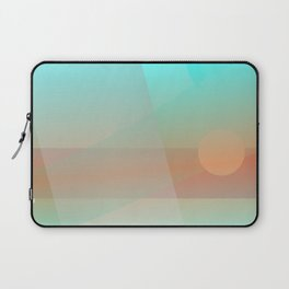 Soft Moonscape: A Pale Yellow Circle Floats Over a Rust-Red Landscape Behind Veils of Soft Blues Laptop Sleeve