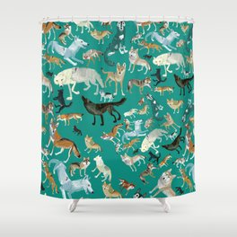 Wolves pattern in blue Shower Curtain