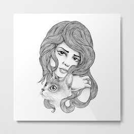 THE GIRL AND THE CAT Metal Print