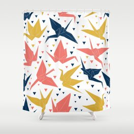 Japanese Origami paper cranes, symbol of happiness, luck and longevity, blue coral mustard Shower Curtain