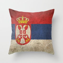 Old and Worn Distressed Vintage Flag of Serbia Throw Pillow