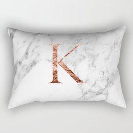 Monogram rose gold marble K Rectangular Pillow