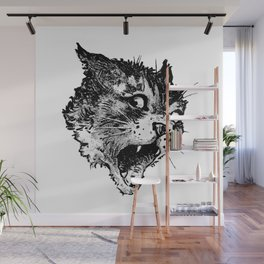 Freaky Cat B&W / Late 19th century illustration of very surprised cat Wall Mural