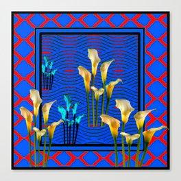 white Calla Lilies Blue & Red Pattern Art Canvas Print