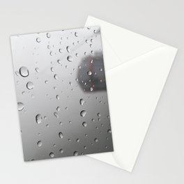 rain drop on cable car window Stationery Cards