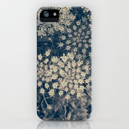 Dreamy Old Lace Flower and Navy Blue Denim Floral iPhone Case