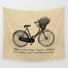 Albert Einstein - Life is Like Riding a Bicycle Wall Tapestry