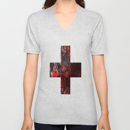 Medic - Abstract Medical Cross In Red And Black Unisex V-Neck