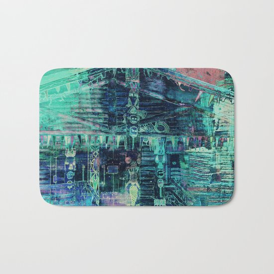 Totem Cabin Abstract - Teal Bath Mat