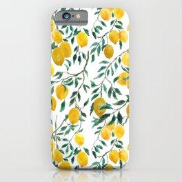 watercoor yellow lemon pattern iPhone Case