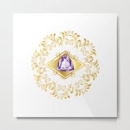 Decorative Background with Amethyst Metal Print