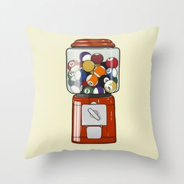 Billiard Gumball Machine Throw Pillow