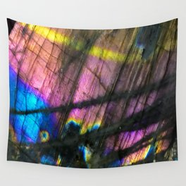 Labradorite and All it's Colors Blue Pink Yellow Purple Flash Magic Vibrant Abundance Wall Tapestry