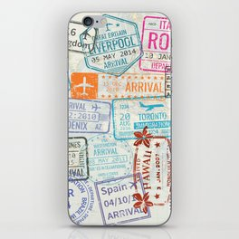Vintage World Map with Passport Stamps iPhone Skin