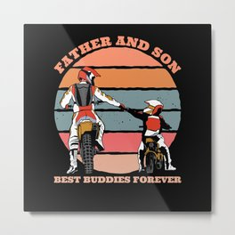 Father And Son Motorcycle Gift Metal Print