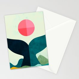 mid century whale sun sea Stationery Cards