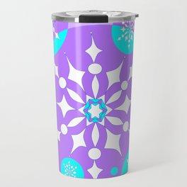 A Lavender and Aqua Snowflake Design Travel Mug