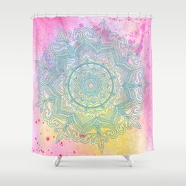 pink splash mandala Shower Curtain