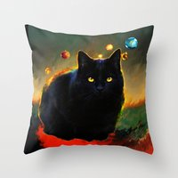 black cat Throw Pillows featuring black cat by ururuty