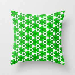 Celtic Shamrock Irish Green Vegetation Pattern Throw Pillow