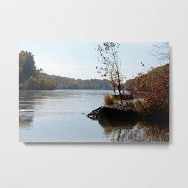 Fall on the River Bank Metal Print