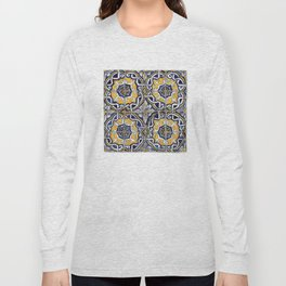 Ornate Blue, Yellow and White Portuguese Tile Long Sleeve T-shirt