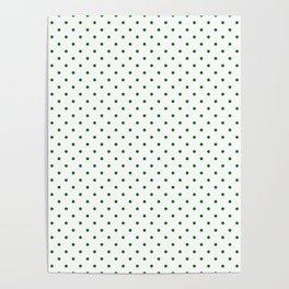 Small Green Polkadot Heart on Snow White Poster