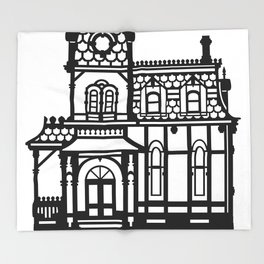 Old Victorian House - black & white Throw Blanket
