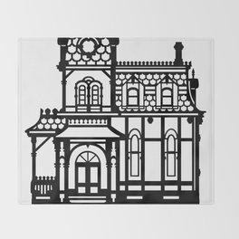 Old Victorian House - black & white Throw Blanket