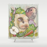 pigs Shower Curtains featuring Guinea Pigs by Raewyn Haughton