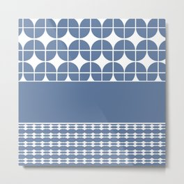 Decorative Cool Blue and White Pattern Design Metal Print