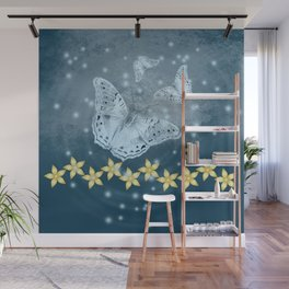 Mysterious butterflies in blue with gold flowers Wall Mural