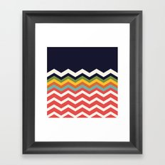 Retro Chevrons (salmon and navy) Framed Art Print