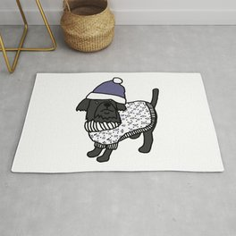 Cute dog wearing a hat and winter sweater Rug