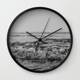 Black and White Pacific Ocean Waves Wall Clock