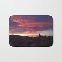 sunset, colored sky, city Bath Mat