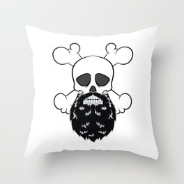Bearded Pirate Skull without eye Patch Crossbones Skeleton Throw Pillow