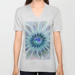 Floral Beauty, Fantasy Flower Unisex V-Neck