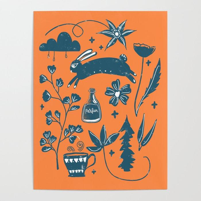 Prancing Rabbit - Orange Poster