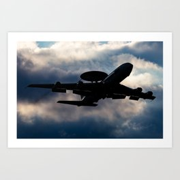 AWACS aircraft silhouette Art Print
