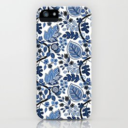 Indigo Botanical Pattern 4 iPhone Case