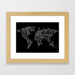 World map black Framed Art Print