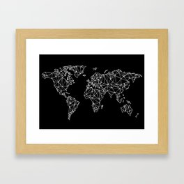 World map black Framed Art Print