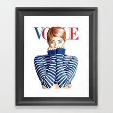 Vogue Magazine Cover. Emma Stone. Fashion Illustration Framed Art Print