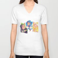dmmd V-neck T-shirts featuring Blue Baby Robot Nerd Trash Prince by Andy Y.