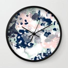 Melia - abstract minimal painting acrylic watercolor nursery mint navy pink Wall Clock