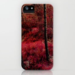 Red forest landscape electric alien iPhone Case