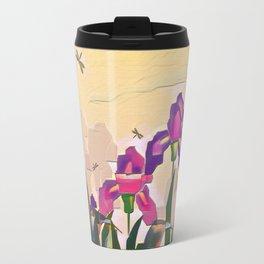 "A series of ""Favorite pillow"" ""Irises"" Travel Mug"
