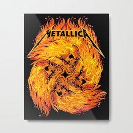Metallic - Fire Skull Metal Print
