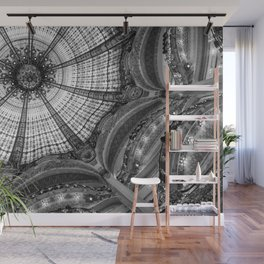 Galeries Lafayette; Paris France Art Nouveau Architecture in Black and White  Wall Mural